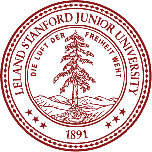 The          logo of Stanford University.  Text says: Leland Stanford Junior          University, 1891, Die Luft Der Freiheit Weht.  In the center, a tree.